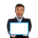 One business man holding showing whiteboard Royalty Free Stock Image