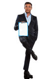 One business man holding showing whiteboard full length Royalty Free Stock Image
