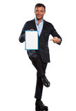 One business man holding showing whiteboard full length Royalty Free Stock Images