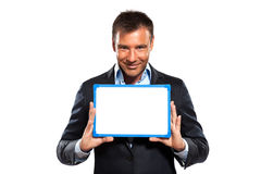 One business man holding showing whiteboard Royalty Free Stock Photography