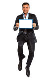 One business man jumping holding Stock Image