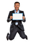 One business man jumping holding showing whiteboard Stock Photos