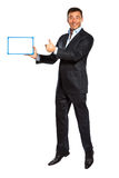 One business man jumping holding showing whiteboard Royalty Free Stock Images