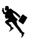 One business man jumping running silhouette. One caucasian business man jumping running  silhouette Full length in studio isolated on white background Stock Photo