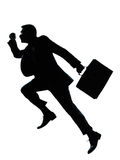 One business man jumping running silhouette. One caucasian business man jumping running  silhouette Full length in studio isolated on white background Stock Photography