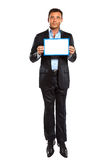 One business man jumping showing whiteboard Royalty Free Stock Images