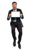 One business man jumping showing whiteboard Stock Photography