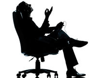 One Business Man Listening Music Silhouette Stock Images