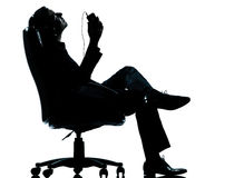 One Business Man Listening Relaxation Music Royalty Free Stock Photos