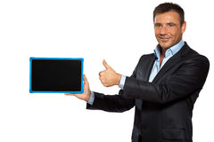 One  business man pointing blackboard message copy space Stock Images