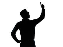 One business man pointing up surprised silhouette Royalty Free Stock Photography