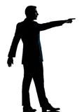 One business man poiting  silhouette Royalty Free Stock Photography