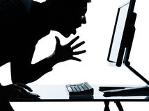 One business man silhouette computer computing angry Stock Photography