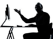 One business man silhouette computer computing happy Royalty Free Stock Photography
