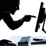 One business man silhouette computing Stock Image
