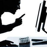 One business man silhouette computing computer Royalty Free Stock Photography
