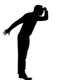One business man silhouette tiptoe looking away royalty free stock photo