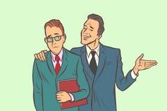One businessman comforts supports sympathetic feels other sad. Comic cartoon pop art retro vector illustration drawing vector illustration