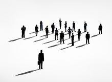 One Businessman Standing Out from the Crowd Stock Photography