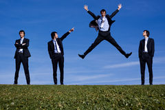 One bussiness man jumping Stock Photo