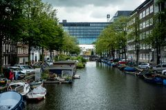 Canal view in the Amsterdam. One of the canal views in the centre of Amsterdam, Netherlands Royalty Free Stock Image
