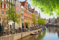 One of canals in Amsterdam, Holland Royalty Free Stock Photography
