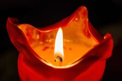 One candle flame at night closeup -  Royalty Free Stock Photo