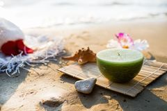 One candle at the sea Stock Photos