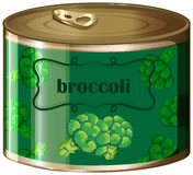 One canned broccoli with label Royalty Free Stock Images