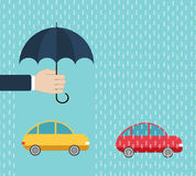 One car under protection by umbrella, another - without insurance Stock Image