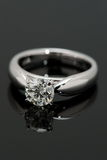One Carat Diamond Solitaire. One Carat Diamond Solitaire on black background Royalty Free Stock Photos