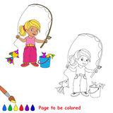 One cartoon baby fisher girl catch fish. Coloring book for children. Page to be color for kid playing. Summer hobby Stock Photography