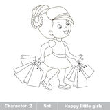 One cartoon baby girl. Hobby shopping Stock Image
