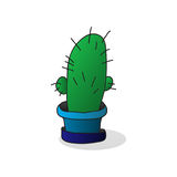 One cartoon cactus in a pot Royalty Free Stock Images
