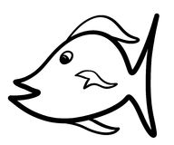 One Cartoon Fish Isolated on White. This isolated cartoon fish was hand drawn and can be used as is or colored to suit your needs Royalty Free Stock Images