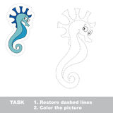 One cartoon seahorse to be traced Royalty Free Stock Images