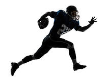 American football player man running silhouette. One caucasian american football player man running in silhouette studio isolated on white background stock photos