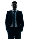 Business man hands in pocket silhouette Royalty Free Stock Photo