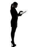 Business woman computer computing  typing digital tablet silhoue Stock Photos