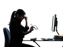 Business woman headache tired  silhouette Royalty Free Stock Photo