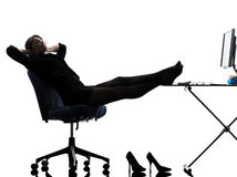Business woman resting pause silhouette Royalty Free Stock Photo