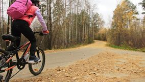 One caucasian children rides bike road in autumn park. Little girl riding black orange cycle in forest. Kid goes do. Bicycle sports. Biker motion ride with stock footage