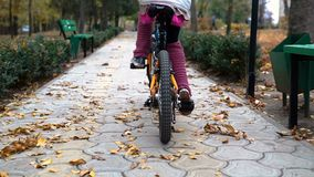 One caucasian children rides bike road in autumn park. Little girl riding black orange cycle in park. Kid goes do bicycle sports stock video