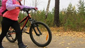 One caucasian children walk with bike in autumn park. Little girl walking black orange cycle in forest. Kid goes do. Bicycle sports. Biker motion ride with stock footage