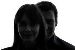 Couple woman man close up portrait silhouette Stock Photo