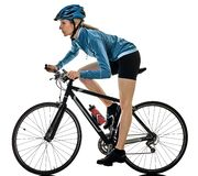 Cyclist cycling riding bicycle woman isolated white background Stock Photo