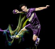 Handball player young man isolated speed light painting royalty free stock image