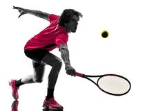 Tennis player man silhouette isolated white background Stock Images