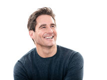 Mature handsome man laughing portrait royalty free stock photography