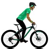 Tenager boy  mountain bike bking isolated shadows Stock Photos